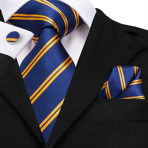 Blue Gold  Striped  Men's Tie Pocket Square Cufflinks Set