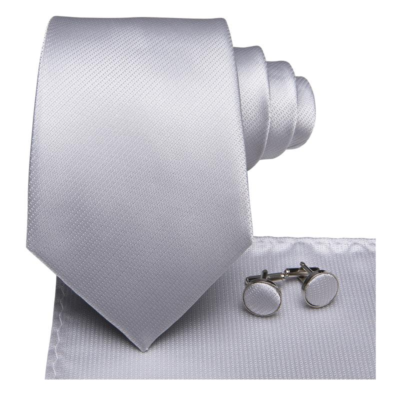Load image into Gallery viewer, Grey White  Striped  Men's Tie Pocket Square Cufflinks Set
