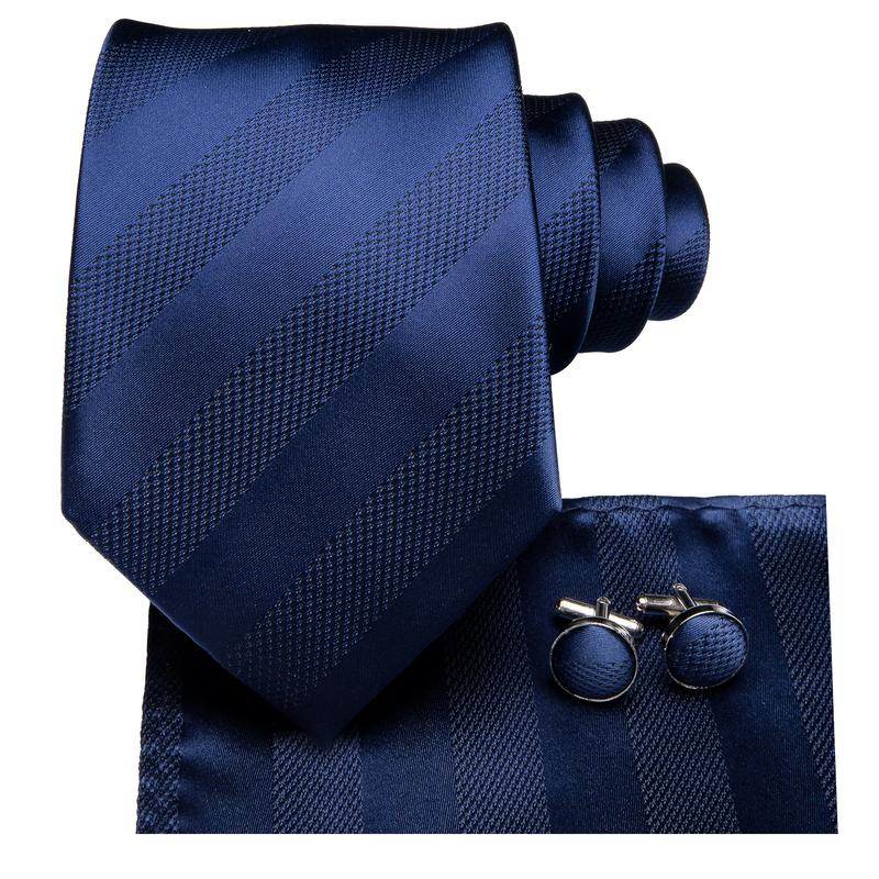 Load image into Gallery viewer, Navy Blue Striped  Men's Tie Pocket Square Cufflinks Set