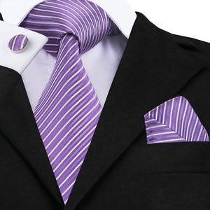 Purple Striped Tie Pocket Square Cufflinks Set