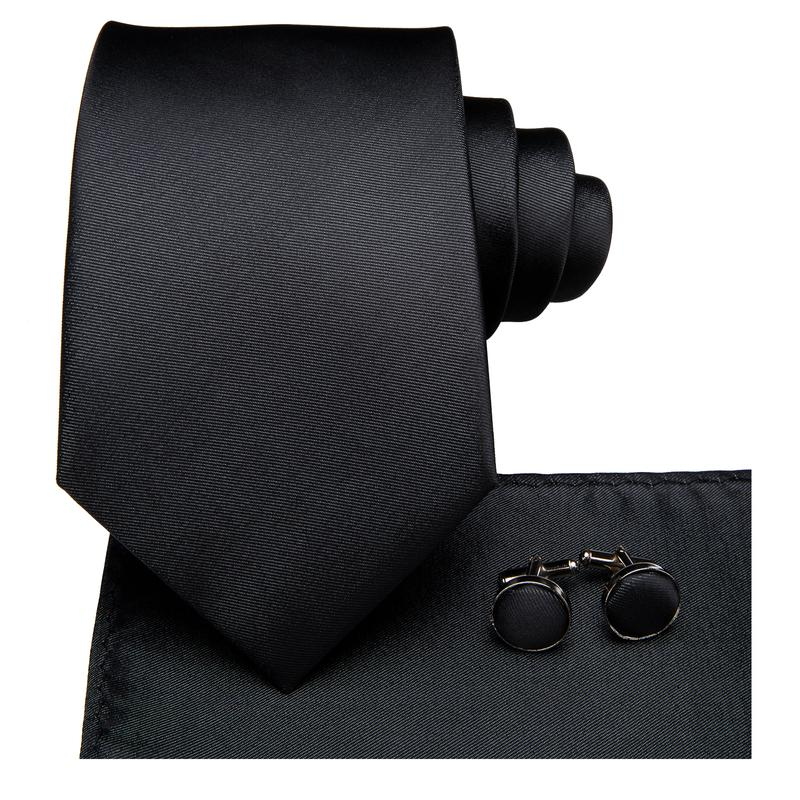 Load image into Gallery viewer, Black Solid Men's Tie Pocket Square Cufflinks Set