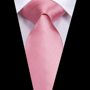 Pink Solid Men's Tie Pocket Square Cufflinks Set