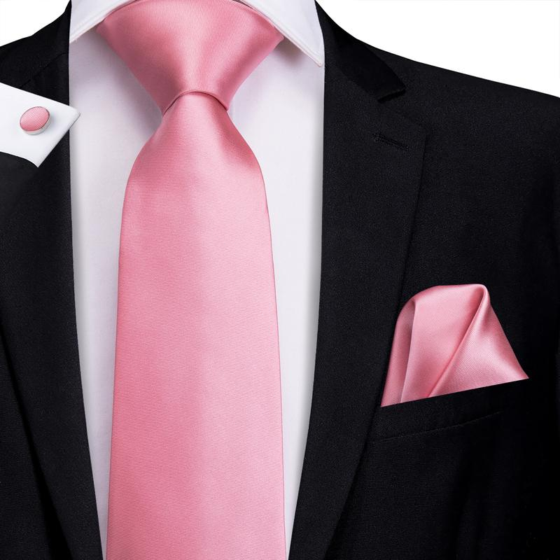 Load image into Gallery viewer, Pink Solid Men's Tie Pocket Square Cufflinks Set