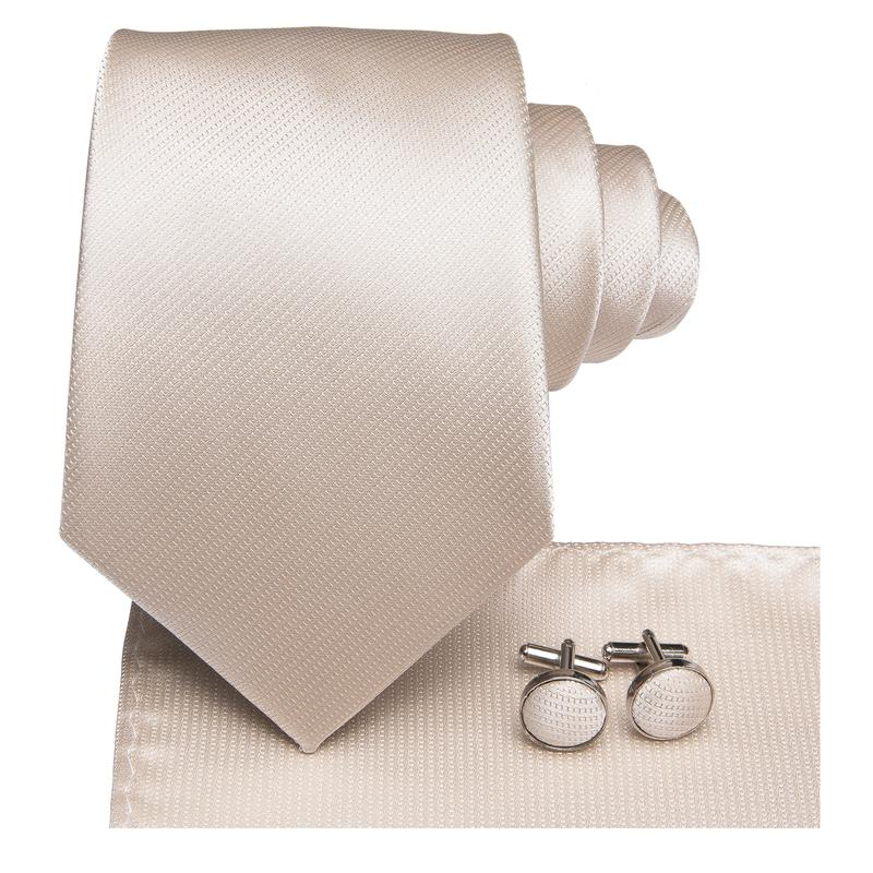 Light Grey Solid Men's Tie Pocket Square Cufflinks Set
