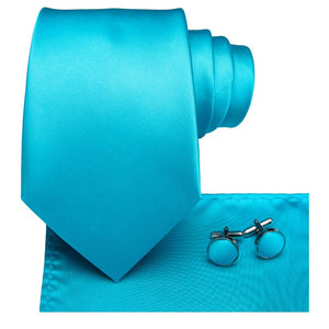 Load image into Gallery viewer, Sea blue Solid Men's Tie Pocket Square Cufflinks Set