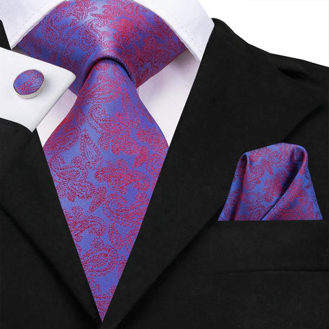 Purple Red Floral  Men's Tie Pocket Square Cufflinks Set