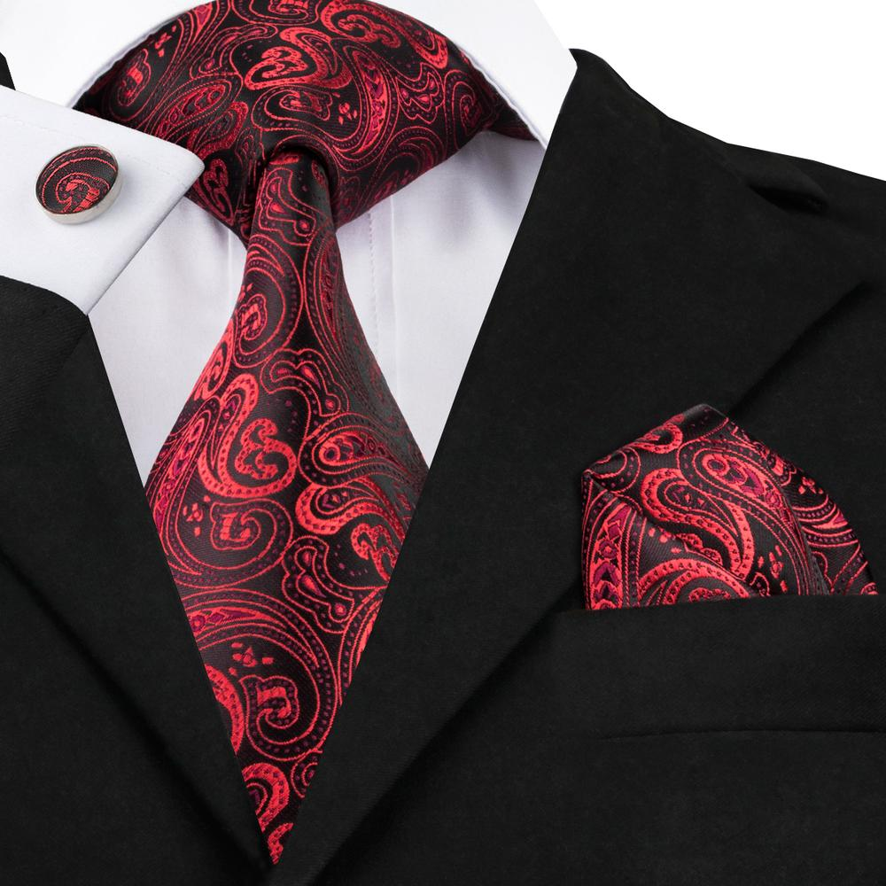 Red Paisley Tie Pocket Square Cufflinks Set