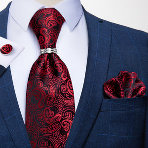 Burgundy Red Paisley 4PCS Silk Tie Pocket Square Cufflinks with Tie Ring Set