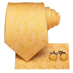 Golden Floral  Men's Tie Pocket Square Cufflinks Set