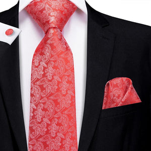 Load image into Gallery viewer, Wedding Red Paisley Men's Tie Pocket Square Cufflinks Set