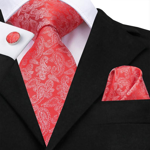 Wedding Red Paisley Men's Tie Pocket Square Cufflinks Set