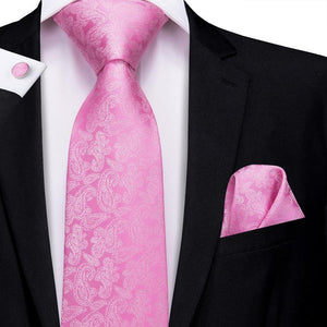 Load image into Gallery viewer, Pink Paisley Floral Men's Tie Pocket Square Cufflinks Set