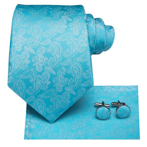 Load image into Gallery viewer, Sky Blue  Paisley Floral Men's Tie Pocket Square Cufflinks Set