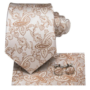 Brown White  Paisley Floral Men's Tie Pocket Square Cufflinks Set (1915995029546)