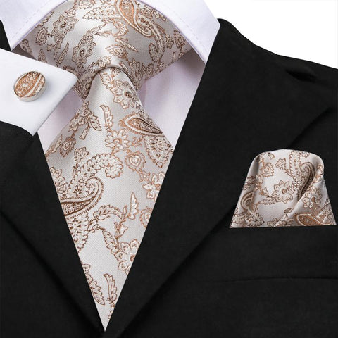 Brown White  Paisley Floral Men's Tie Pocket Square Cufflinks Set