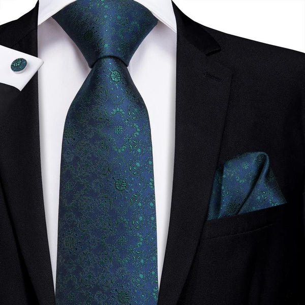 Dark Blue Green Floral Men's Tie Pocket Square Cufflinks Set
