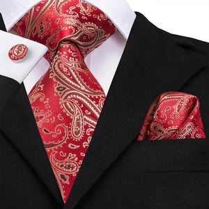 Red Yellow Paisley Men's Tie Pocket Square Cufflinks Set