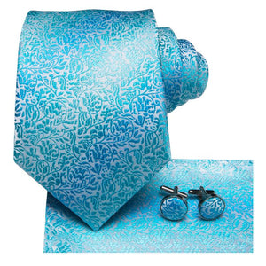 Load image into Gallery viewer, Pale Blue Floral Men's Tie Pocket Square Cufflinks Set