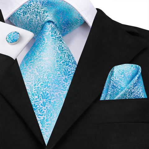 Pale Blue Floral Men's Tie Pocket Square Cufflinks Set
