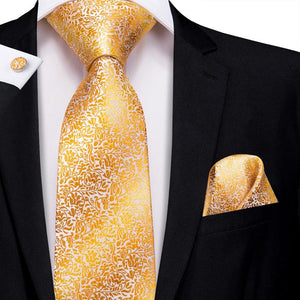 Golden Yellow Floral Men's Tie Pocket Square Cufflinks Set (1916036448298)