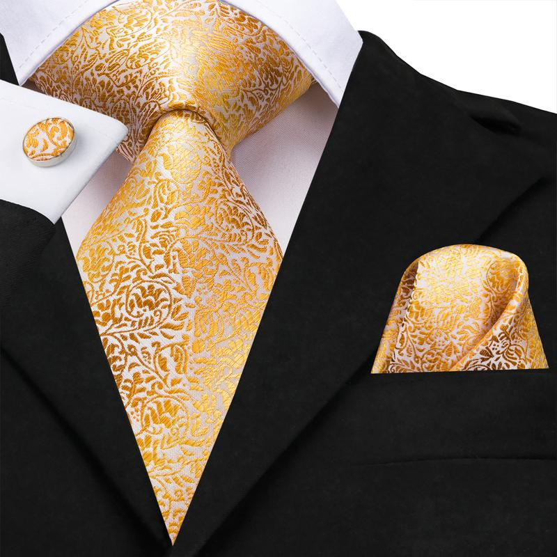 Golden Yellow Floral Men's Tie Pocket Square Cufflinks Set