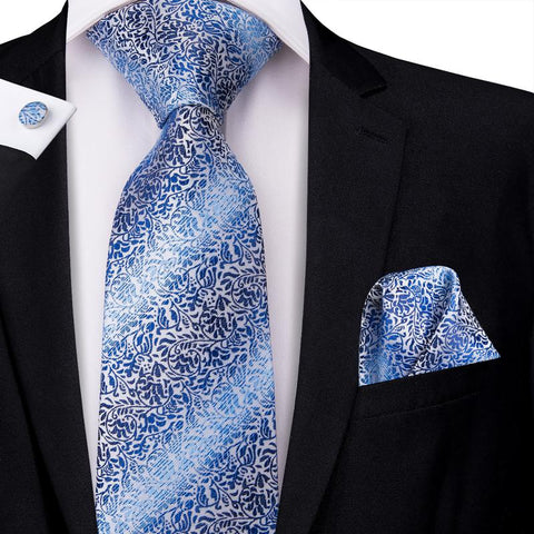 Blue White Striped Floral Men's Tie Pocket Square Cufflinks Set