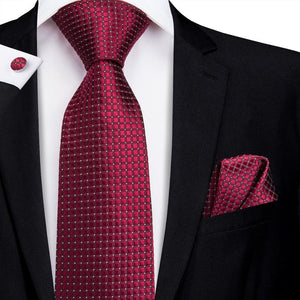 Purplish Red Plaid Men's Tie Pocket Square Cufflinks Set