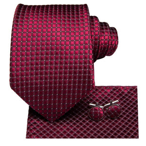 Load image into Gallery viewer, Purplish Red Plaid Men's Tie Pocket Square Cufflinks Set