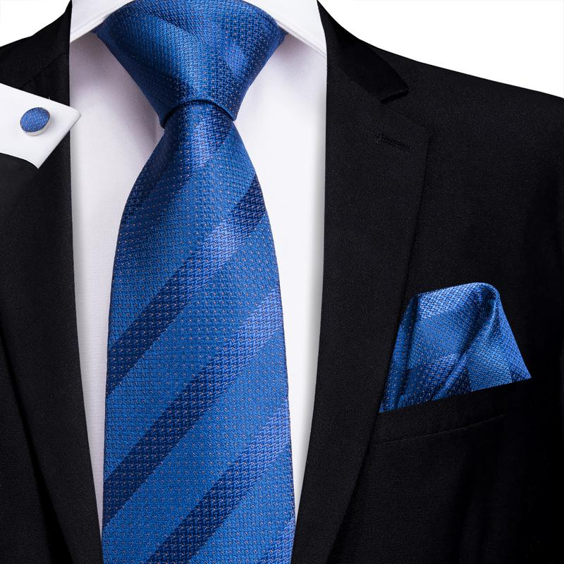 Blue Striped Men's Tie Pocket Square Cufflinks Set