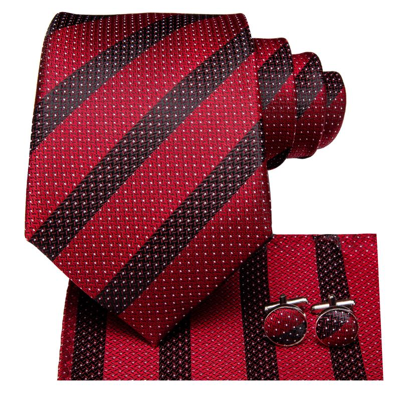 Red Black Striped Men's Tie Pocket Square Cufflinks Set