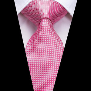 Load image into Gallery viewer, Pink Plaid Men's Tie Pocket Square Cufflinks Set
