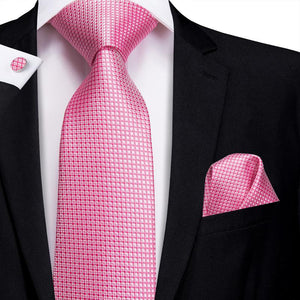 Load image into Gallery viewer, Pink Plaid Men's Tie Pocket Square Cufflinks Set (1916049522730)