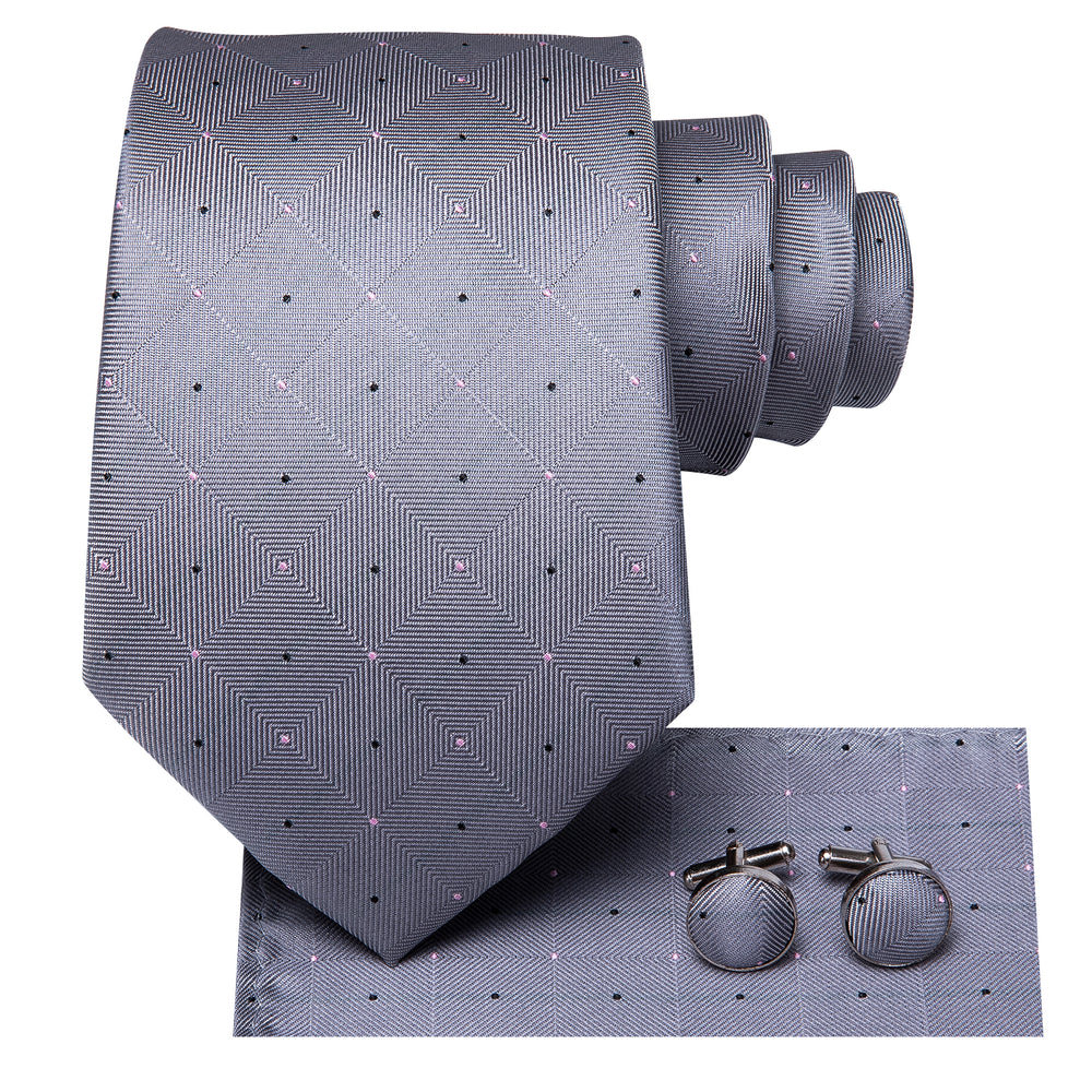 Load image into Gallery viewer, Metallic Grey Plaid Men's Tie Pocket Square Cufflinks Set