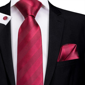 Colorful Red Striped Men's Tie Pocket Square Cufflinks Set (1916051128362)
