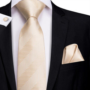 Load image into Gallery viewer, Soft Yellow Striped Men's Tie Pocket Square Cufflinks Set