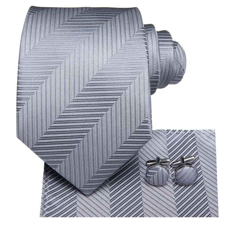 Load image into Gallery viewer, Black Grey Striped Men's Tie Pocket Square Cufflinks Set