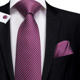 Purple White Striped Men's Tie Pocket Square Cufflinks Set