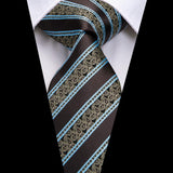 Blue Brown Striped Men's Tie Pocket Square Cufflinks Set