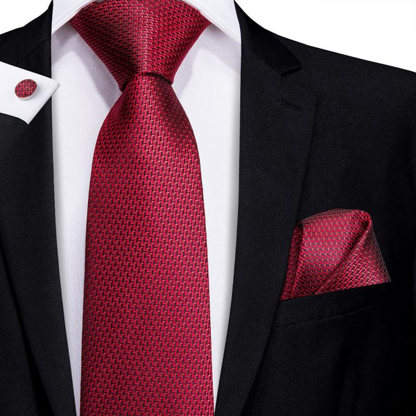 Red Novelty Men's Tie Pocket Square Cufflinks Set