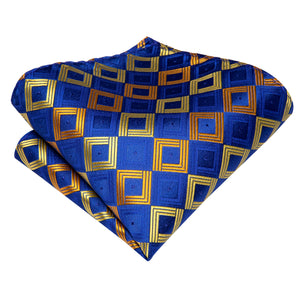 Blue Yellow Novelty Men's Tie Pocket Square Cufflinks Set