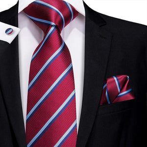 Load image into Gallery viewer, Wine Red Blue Striped Men's Tie Pocket Square Cufflinks Set