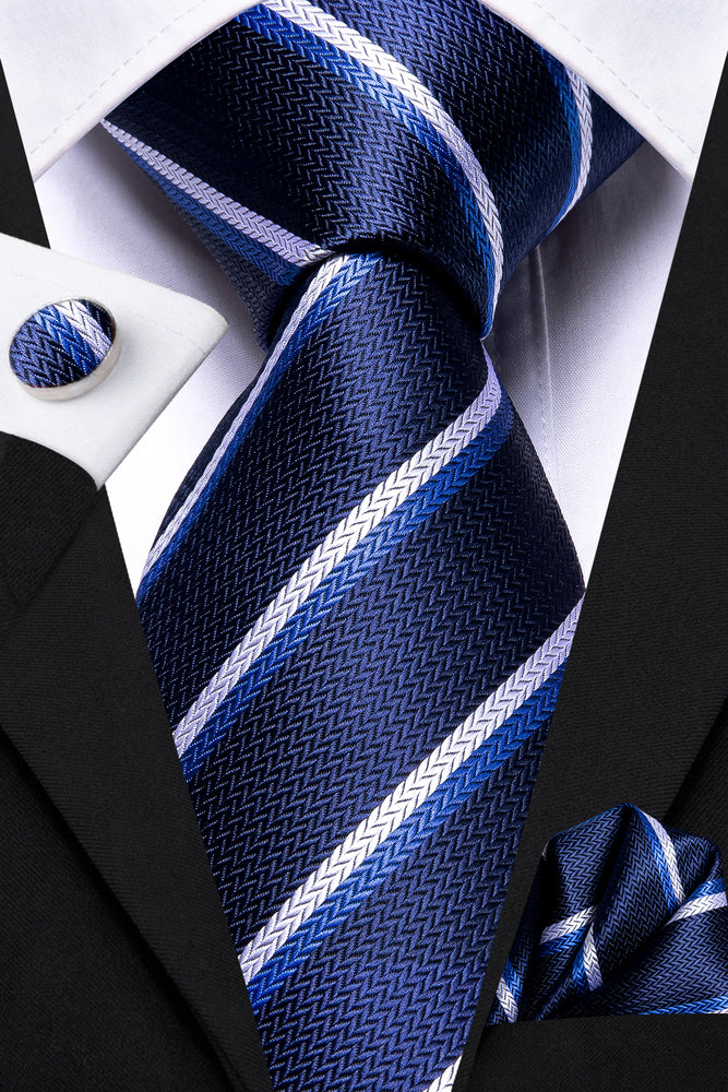 White Blue Striped Men's Tie Pocket Square Cufflinks Set
