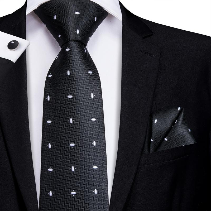 Black White Polka Dot Men's Tie Pocket Square Cufflinks Set