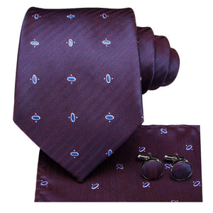 Purple Blue Polka Dot Men's Tie Pocket Square Cufflinks Set (1916653043754)