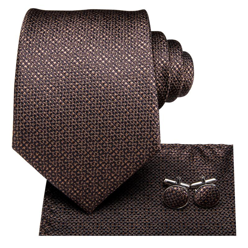 Brown Plaid Men's Tie Pocket Square Cufflinks Set (1916655271978)
