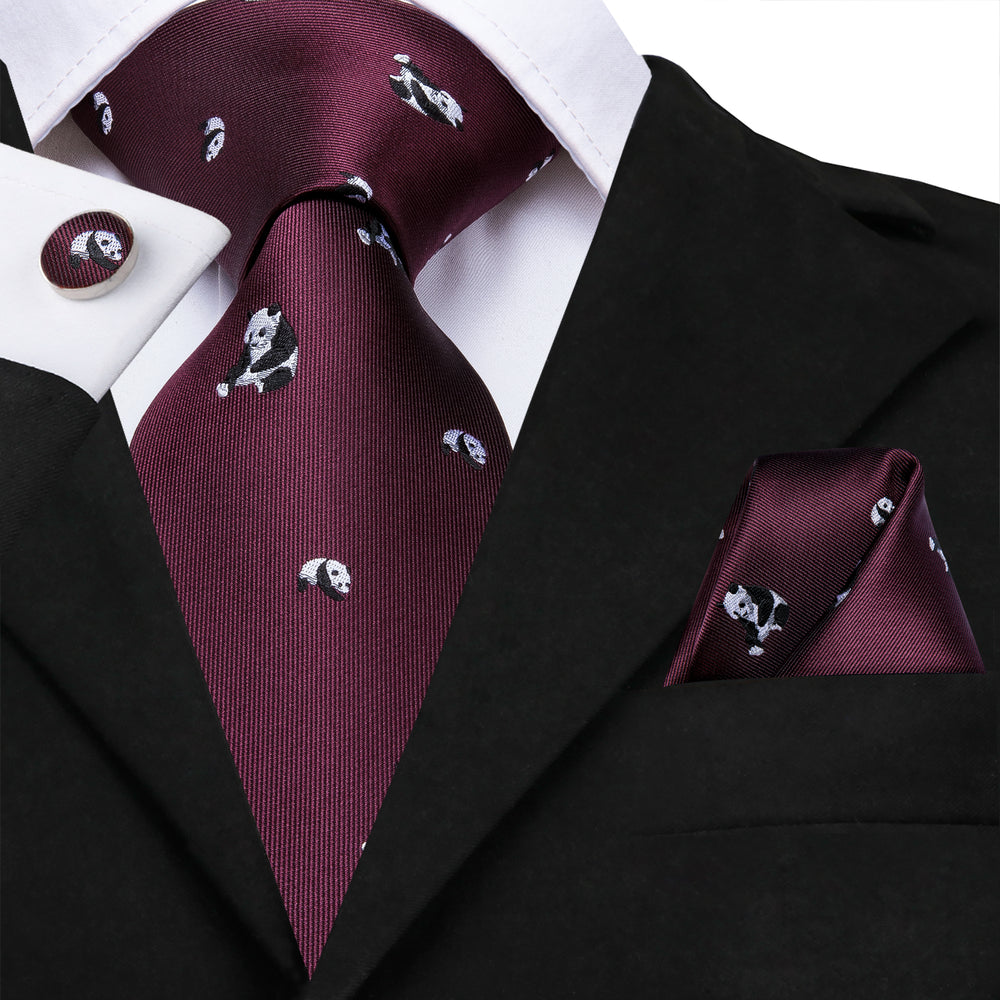 Load image into Gallery viewer, Dark Red Panda Solid Men's Tie Pocket Square Cufflinks Set (4740238147665)