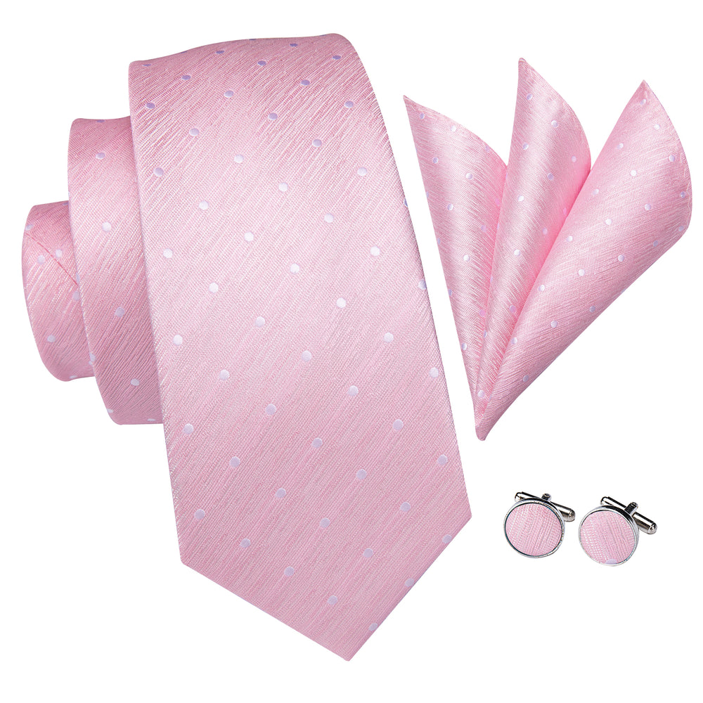 Pink Dot Men's Tie Pocket Square Cufflinks Set