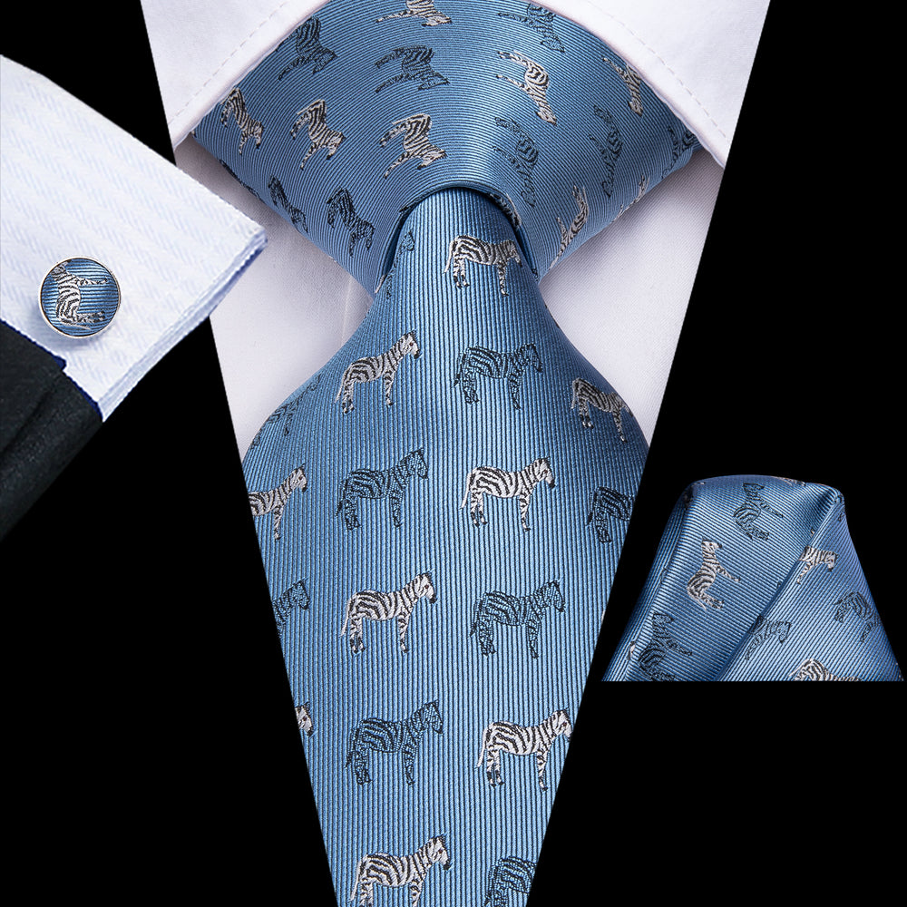 Load image into Gallery viewer, Novelty Horse Blue Men's Tie Pocket Square Cufflinks Set