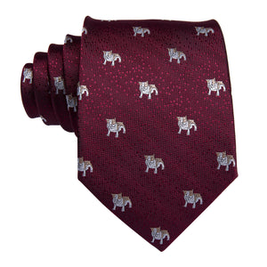 Puppy Red Solid  Men's Tie Pocket Square Cufflinks Set