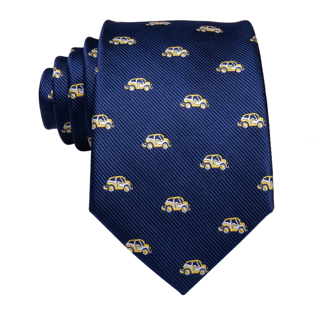 Yellow Car Navy Blue Men's Tie Pocket Square Cufflinks Set